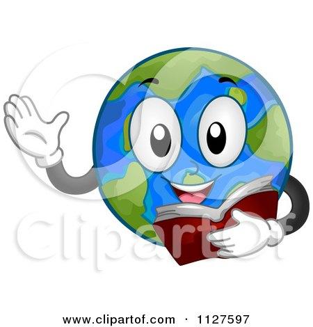 Cartoon Of A Reading Globe Mascot - Royalty Free Vector Clipart by BNP Design Studio