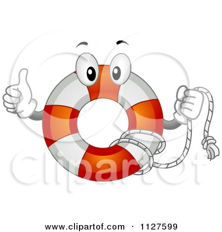 Cartoon Of A Life Buoy Mascot Holding A Thumb Up - Royalty Free Vector Clipart by BNP Design Studio