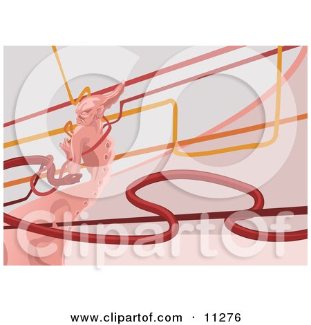 Bad Girl Background of a Pink Demon, Lines and a Red Snake Clipart Picture by AtStockIllustration