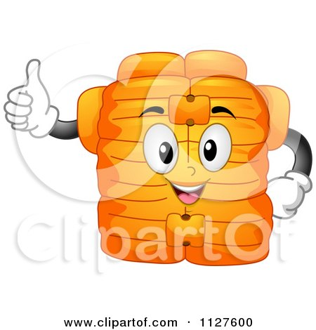 Cartoon Of A Life Jacket Mascot Holding A Thumb Up - Royalty Free Vector Clipart by BNP Design Studio
