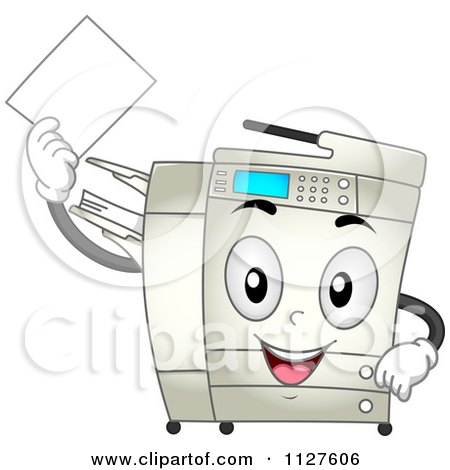 Cartoon Of A Happy Copier Mascot Holding A Piece Of Paper Royalty Free Vector Clipart