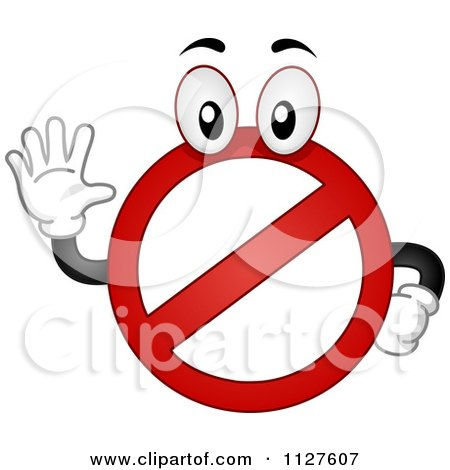 Cartoon Of A Restricted Mascot Holding A Hand Up - Royalty Free Vector Clipart by BNP Design Studio