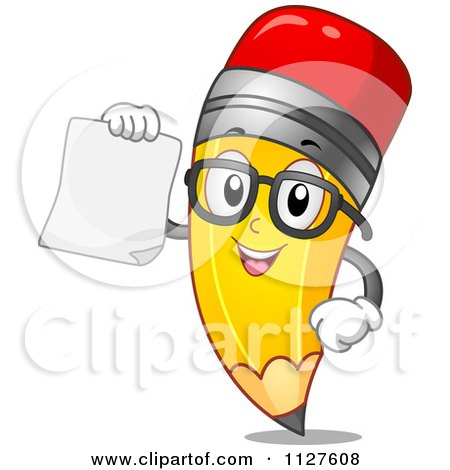 Cartoon Of A Pencil Mascot Holding A Paper - Royalty Free Vector Clipart by BNP Design Studio