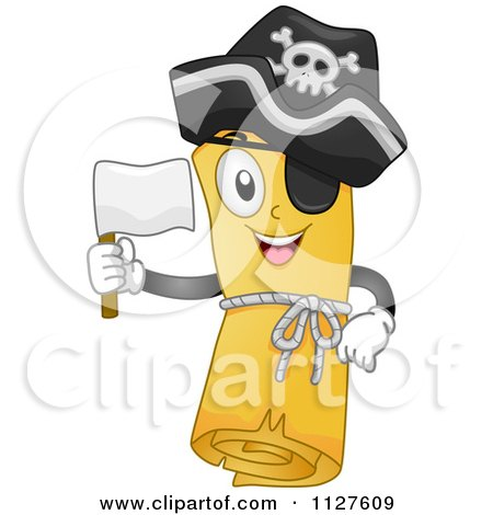 Cartoon Of A Pirate Treasure Map Mascot Holding A White Flag - Royalty Free Vector Clipart by BNP Design Studio
