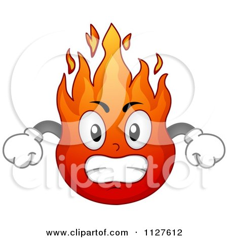 Cartoon Of An Angry Flame Mascot - Royalty Free Vector Clipart by BNP Design Studio