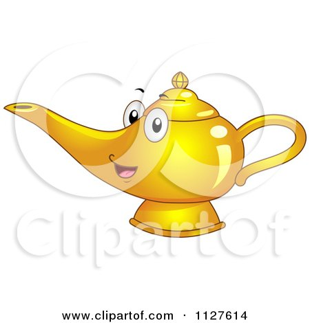 Cartoon Of A Happy Genie Or Oil Lamp Mascot - Royalty Free Vector Clipart by BNP Design Studio