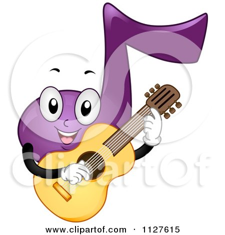 Cartoon Of A Happy Purple Music Note Mascot Playing A Guitar - Royalty Free Vector Clipart by BNP Design Studio
