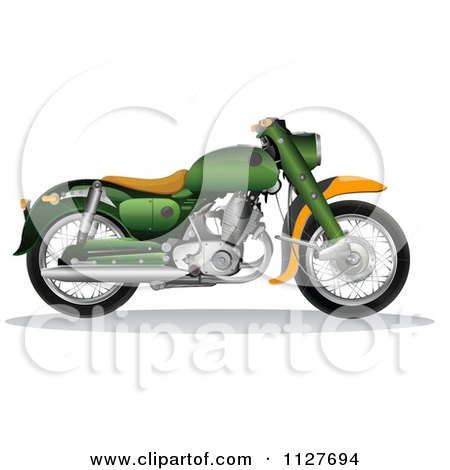 Clipart Of A Green And Orange 1956 Honda C70 Dream Motorcycle - Royalty Free Vector Illustration by YUHAIZAN YUNUS