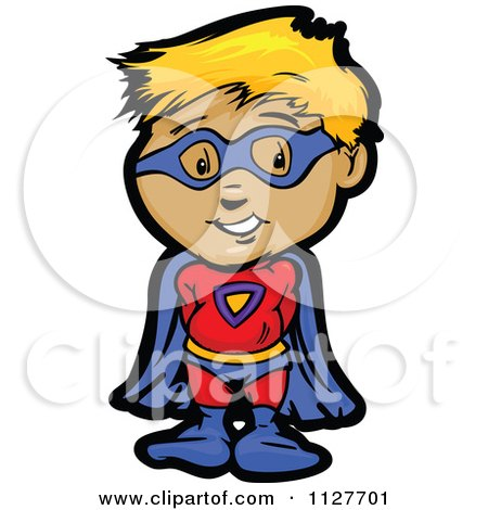 Cartoon Of A Cute Blond Super Hero Boy - Royalty Free Vector Clipart by Chromaco