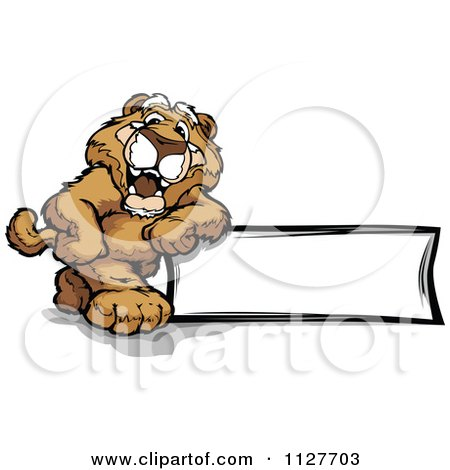 Cartoon Of A Happy Cougar Mascot Leaning On A Sign - Royalty Free Vector Clipart by Chromaco