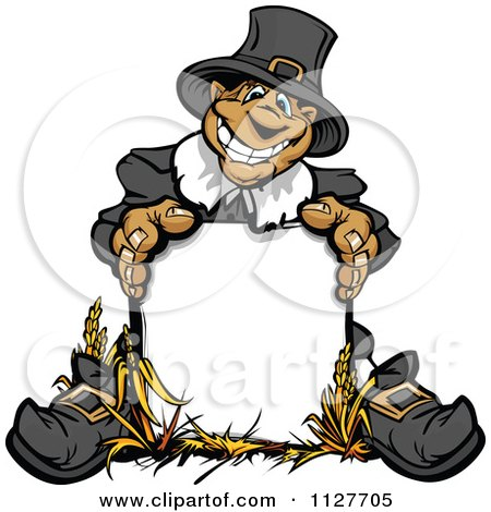 Cartoon Of A Happy Thanksgiving Pilgrim Man Behind A Sign - Royalty Free Vector Clipart by Chromaco