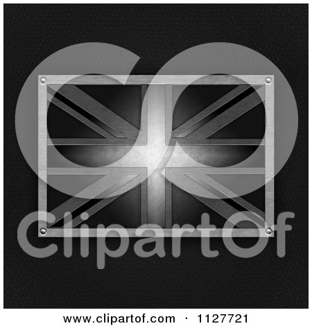 Clipart Of A 3d Metal Union Jack Flag Over Leather - Royalty Free Illustration by elaineitalia