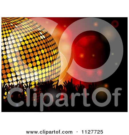 Clipart Of Silhouetted Crowd Hands Over Red With A Disco Ball - Royalty Free Vector Illustration by elaineitalia