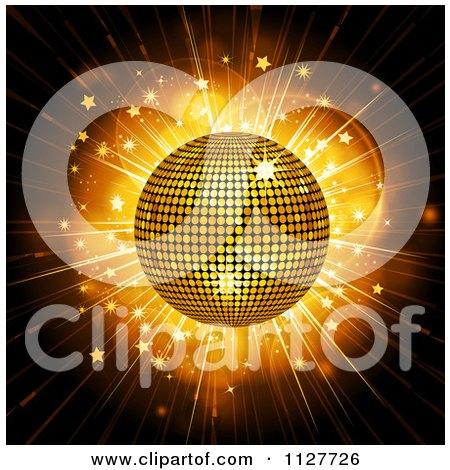 Clipart Of A 3d Gold Disco Ball Over A Star Burst - Royalty Free Vector Illustration by elaineitalia