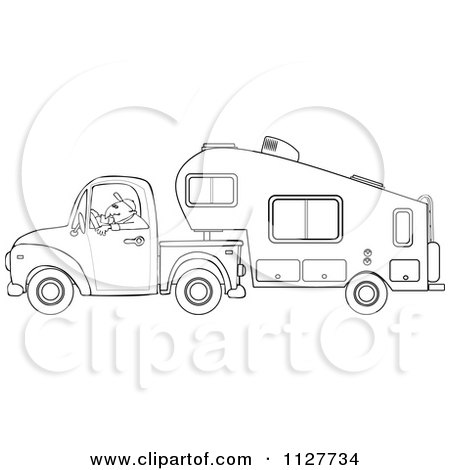 rv coloring pages - cartoon of an outlined man driving a pickup with a 5th