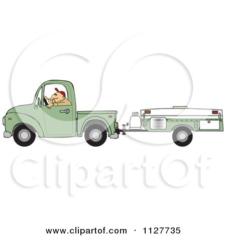 Cartoon Of A Man Driving A Pickup With A Tent Trailer - Royalty Free Vector Clipart by djart