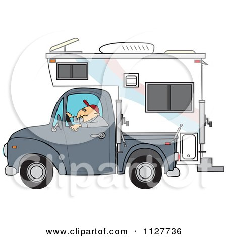 Cartoon Of A Man Driving A Pickup With A Camper - Royalty Free Vector Clipart by djart