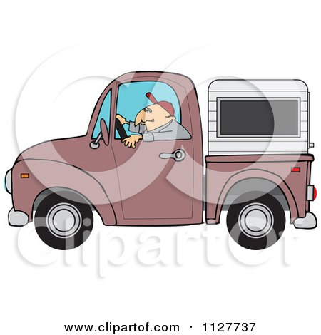 Cartoon Of A Man Driving A Pickup Truck With A Sleeper Or Canopy - Royalty Free Vector Clipart by djart