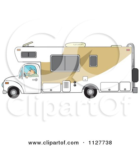 Cartoon Of A Man Driving A Motor Home RV - Royalty Free Vector Clipart by djart