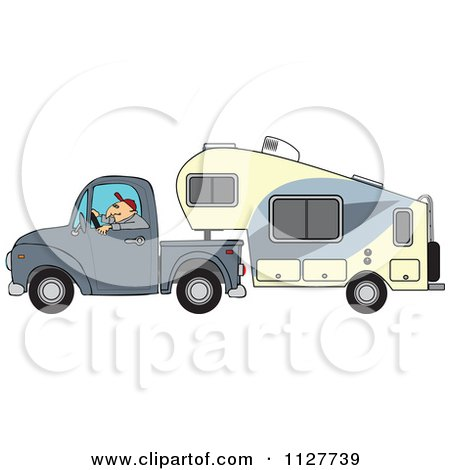 Cartoon Of A Man Driving A Pickup With A 5th Wheel Camper - Royalty Free Vector Clipart by djart