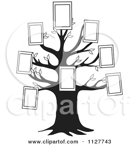 Cartoon Of A Black And White Family Tree With Picture Frames