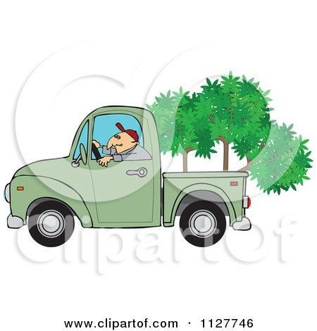 Cartoon Of A Man Driving A Pickup Truck With Trees In The Bed - Royalty Free Vector Clipart by djart