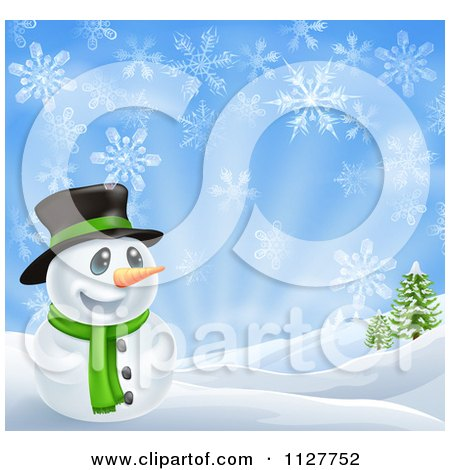 Cartoon Of A Happy Snowman In A Scarf And Top Hat In A Winter Landscape - Royalty Free Vector Clipart by AtStockIllustration