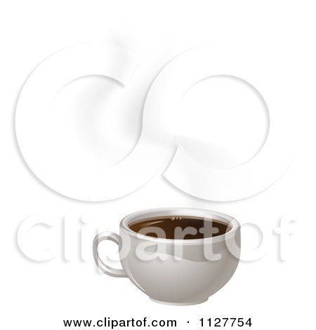 Clipart Of A White Cup Of Steamy Coffee - Royalty Free Vector Illustration by AtStockIllustration