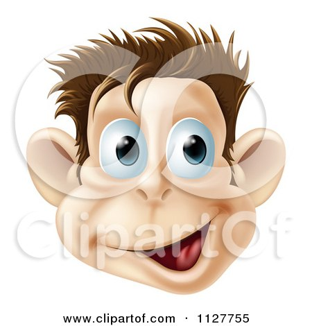 Cartoon Of A Happy Laughing Monkey Face - Royalty Free Vector Clipart by AtStockIllustration