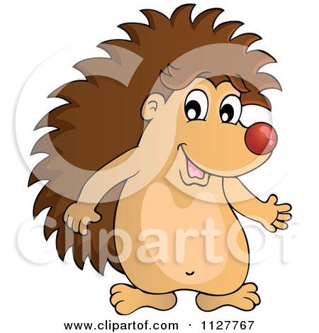 Cartoon Of A Cute Happy Hedgehog Presenting - Royalty Free Vector Clipart by visekart