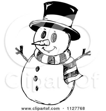 Royalty-Free (RF) Clipart Illustration of a Happy Snowman ...