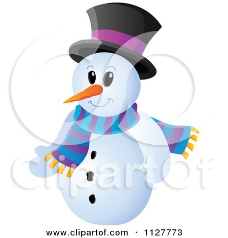 Cartoon Of A Christmas Snowman In A Top Hat And Scarf - Royalty Free Vector Clipart by visekart