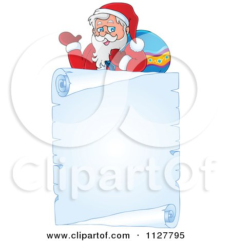 Cartoon Of Christmas Frame Of Santa Over A Frozen Parchment Scroll - Royalty Free Vector Clipart by visekart
