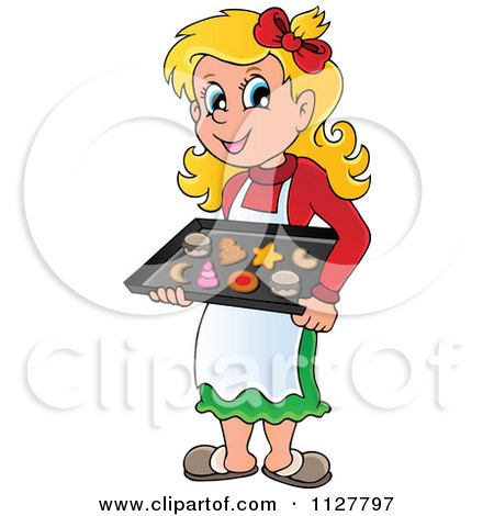 Cartoon Of A Happy Blond Woman Baking Christmas Cookies - Royalty Free Vector Clipart by visekart