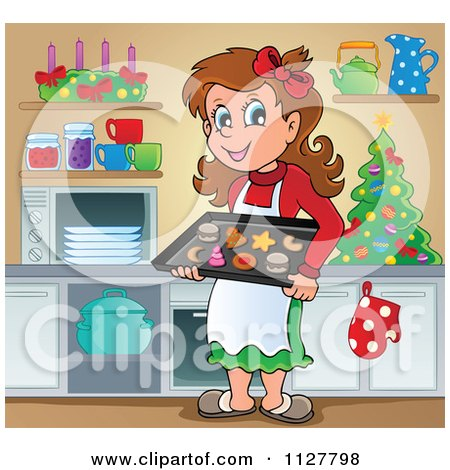 Cartoon Of A Happy Brunette Woman Baking Christmas Cookies - Royalty Free Vector Clipart by visekart