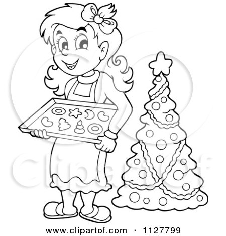 Happy Blond Woman Baking Christmas Cookies 1127797