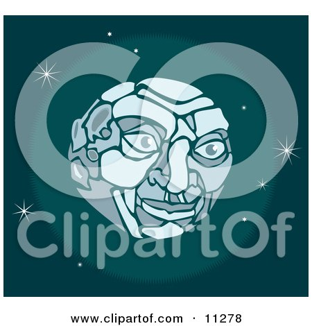 Man's Face on the Moon in Outer Space Clipart Illustration by AtStockIllustration