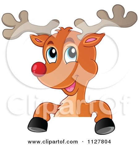 Cartoon Of A Cute Christmas Reindeer Over A Sign - Royalty Free Vector Clipart by visekart
