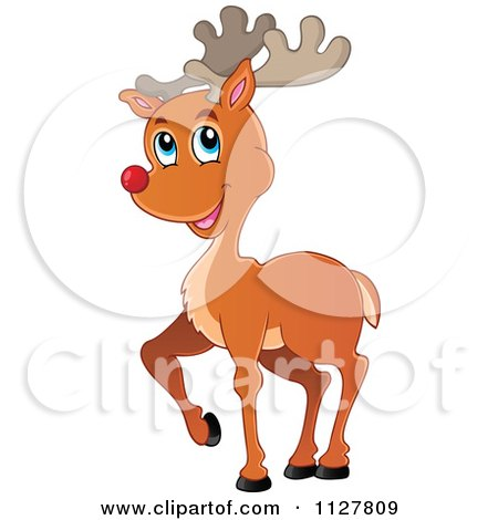 Cartoon Of A Cute Red Nosed Reindeer - Royalty Free Vector Clipart by visekart