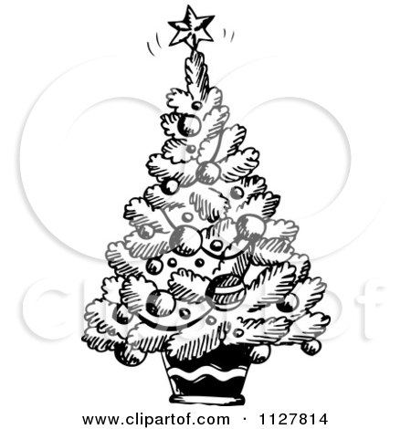 Cartoon Of A Sketched Black And White Christmas Tree - Royalty Free Vector Clipart by visekart