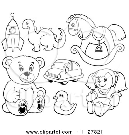 Cartoon Of Outlined Toys - Royalty Free Vector Clipart by visekart