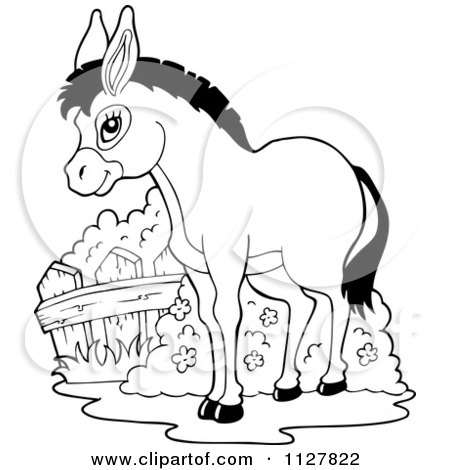 Cartoon Of An Outlined Cute Donkey - Royalty Free Vector Clipart by visekart