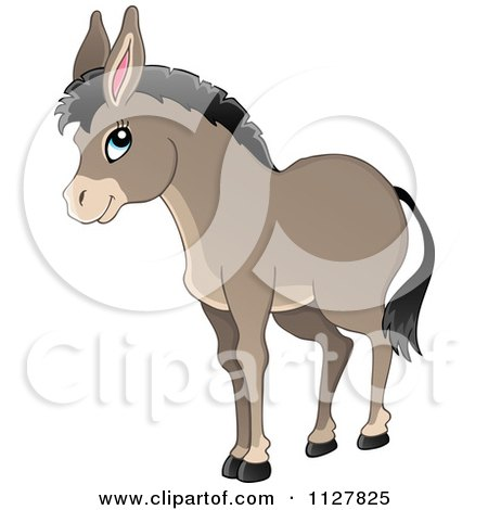 Cartoon Of A Cute Donkey - Royalty Free Vector Clipart by visekart