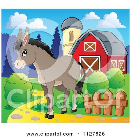 Cartoon Of A Cute Donkey Near A Barn - Royalty Free Vector Clipart by visekart