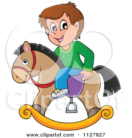 Cartoon Of A Boy Playing On A Toy Rocking Horse - Royalty Free Vector Clipart by visekart