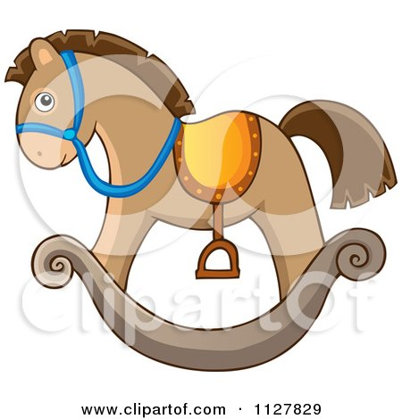 Cartoon Of A Toy Rocking Horse - Royalty Free Vector Clipart by visekart