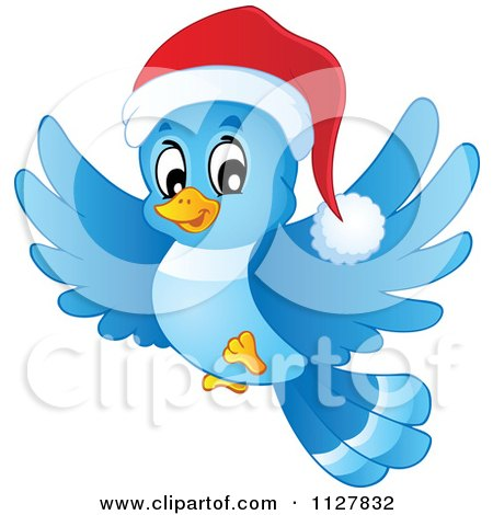 Cartoon Of A Flying Christmas Blue Bird Wearing A Santa Hat - Royalty Free Vector Clipart by visekart