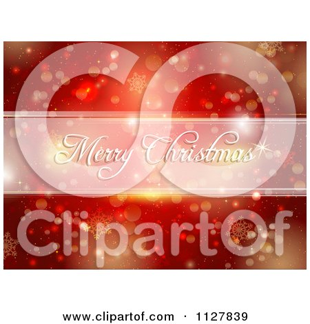 Clipart Of A Merry Christmas Greeting Over Red Bokeh Lights And Snowflakes - Royalty Free Vector Illustration by KJ Pargeter
