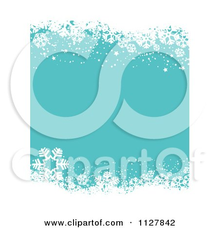 Clipart Of A Turquoise Christmas Background With Winter Snowflake Borders - Royalty Free Vector Illustration by KJ Pargeter