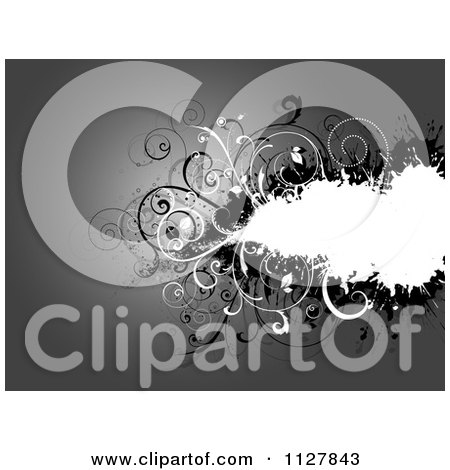 Clipart Of A Grayscale Monochrom Background Of Floral Grungy Vines And Copyspace - Royalty Free Vector Illustration by KJ Pargeter